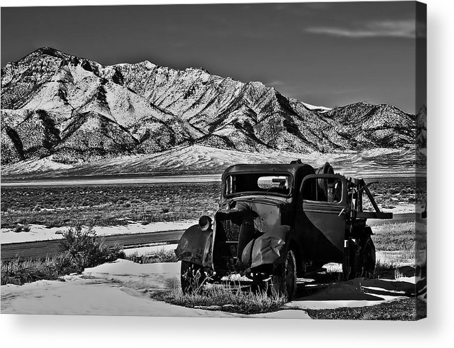 Black And White Acrylic Print featuring the photograph Old Truck by Robert Bales