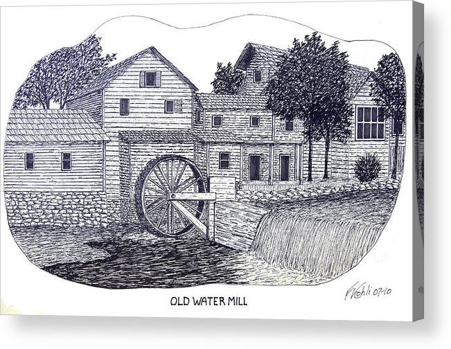 Ink Acrylic Print featuring the drawing Old Water Mill by Frederic Kohli