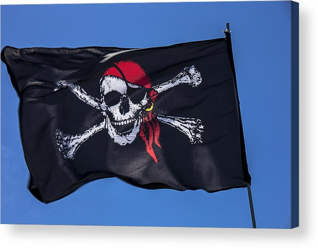 Pirate Flag Skull Banner Piracy Scull Robbers Terror Terrorist F Acrylic Print featuring the photograph Pirate Skull Flag With Red Scarf by Garry Gay