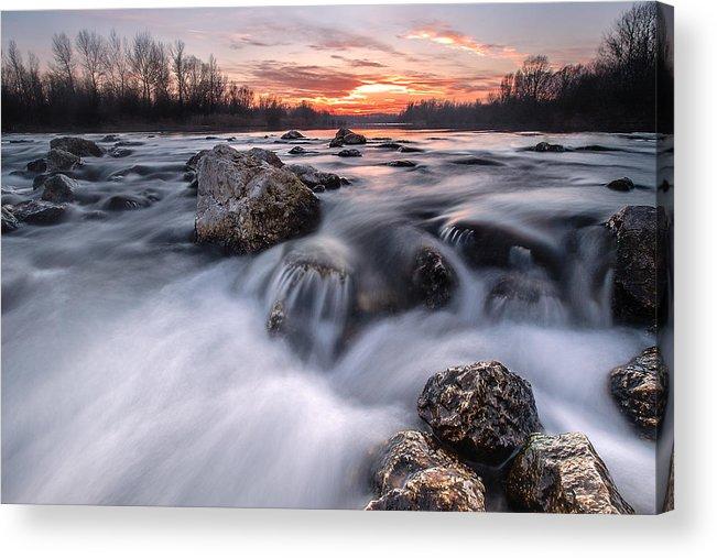 Landscapes Acrylic Print featuring the photograph Rapids On Sunset by Davorin Mance