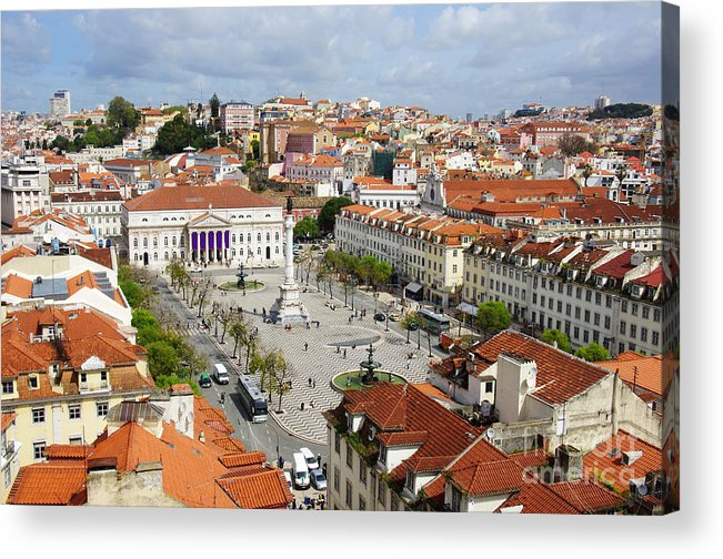 Aerial Acrylic Print featuring the photograph Rossio Square by Carlos Caetano