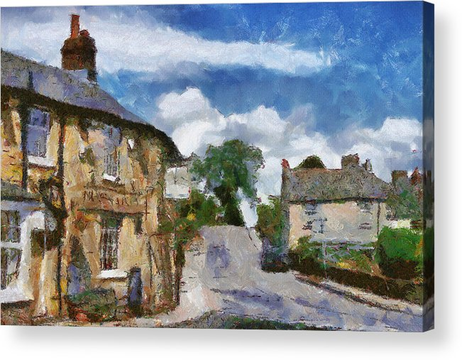 Street Acrylic Print featuring the painting Small Town Street by Ayse Deniz