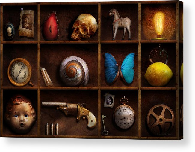 Steampunk Acrylic Print featuring the photograph Steampunk - A Box Of Curiosities by Mike Savad