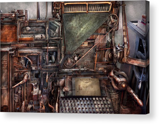 Steampunk Acrylic Print featuring the photograph Steampunk - Machine - All The Bells And Whistles by Mike Savad