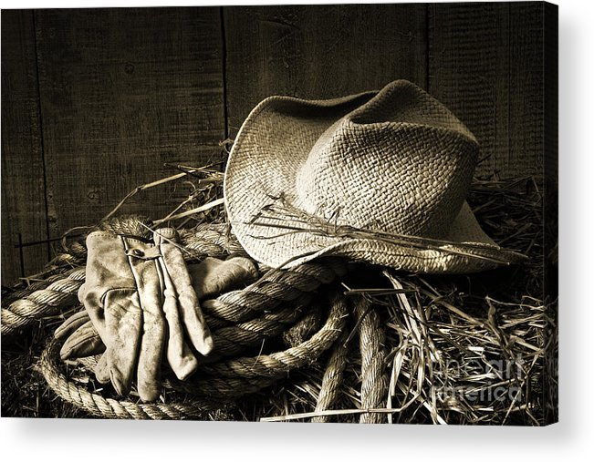 Bale Acrylic Print featuring the photograph Straw Hat With Gloves On A Bale Of Hay by Sandra Cunningham