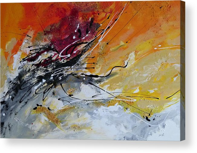Sunrise Acrylic Print featuring the painting Sunrise - Abstract Art by Ismeta Gruenwald
