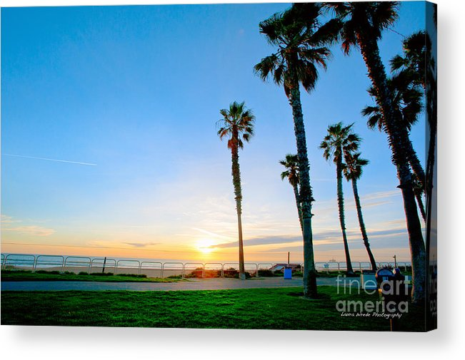 Southern California Sunset Beach Acrylic Print featuring the photograph Sunset Over Santa Barbara by Artist and Photographer Laura Wrede