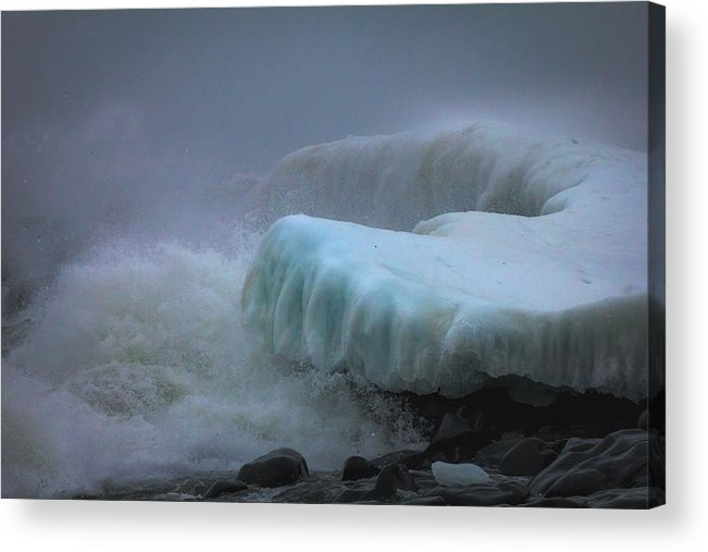 lake Superior stoney Point Ice Splash Storm Nature north Shore Frozen Blizzard Snowstorm greeting Cards mary Amerman surging Sea Acrylic Print featuring the photograph Surging Sea by Mary Amerman