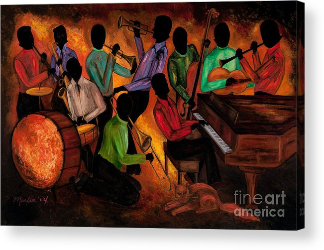 Cat Acrylic Print featuring the painting The Gitdown Hoedown by Larry Martin