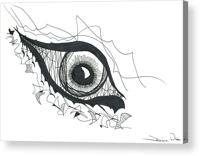 Eye Acrylic Print featuring the drawing The Sorcerer's Divine Dance Of Infinite Divine Light by Daina White