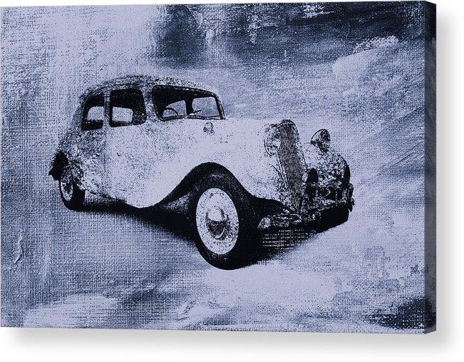 Vintage Acrylic Print featuring the digital art Vintage Car by David Ridley