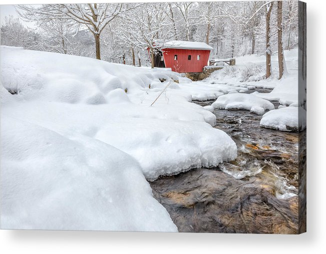 Covered Bridge Acrylic Print featuring the photograph Winter Stream by Bill Wakeley