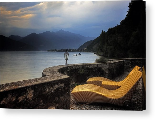 Lake Maggiore Acrylic Print featuring the photograph Canvas Chairs by Joana Kruse