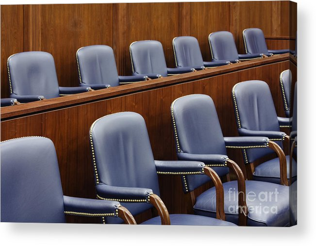 Architecture Acrylic Print featuring the photograph Empty Jury Seats In Courtroom by Jeremy Woodhouse
