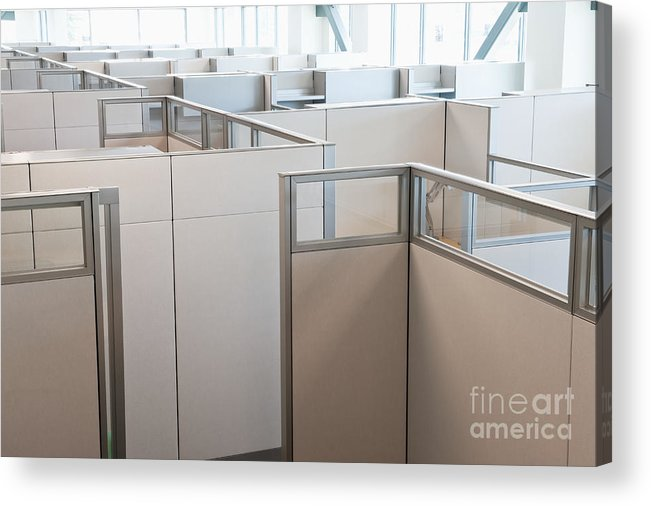 Architecture Acrylic Print featuring the photograph Empty Office Cubicles by Jetta Productions, Inc