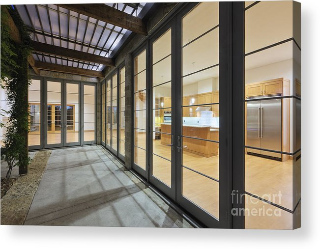 Architecture Acrylic Print featuring the photograph Modern Home Kitchen Through Glass Doors by Jeremy Woodhouse
