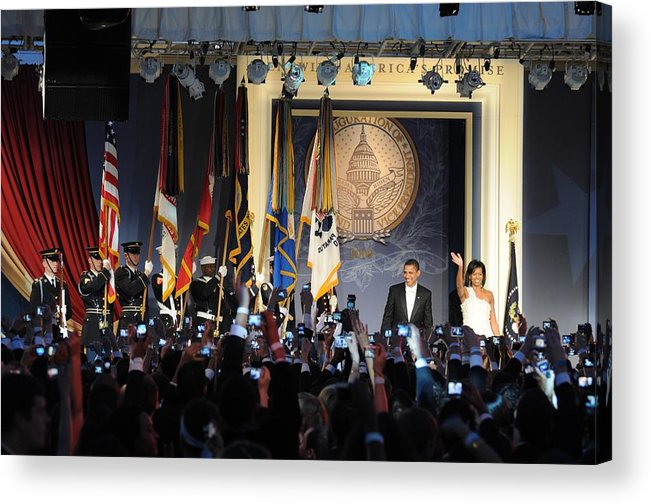 History Acrylic Print featuring the photograph President And Michelle Obama Arrive by Everett