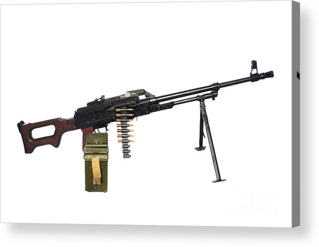 Single Object Acrylic Print featuring the photograph Russian Pkm General-purpose Machine Gun by Andrew Chittock
