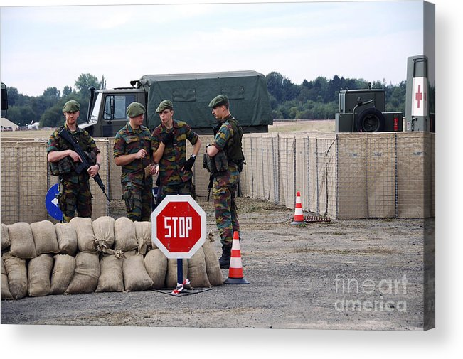 Armed Forces Acrylic Print featuring the photograph Scenery Of A Checkpoint Used by Luc De Jaeger