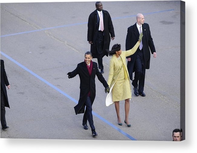 History Acrylic Print featuring the photograph President And Michelle Obama Wave by Everett