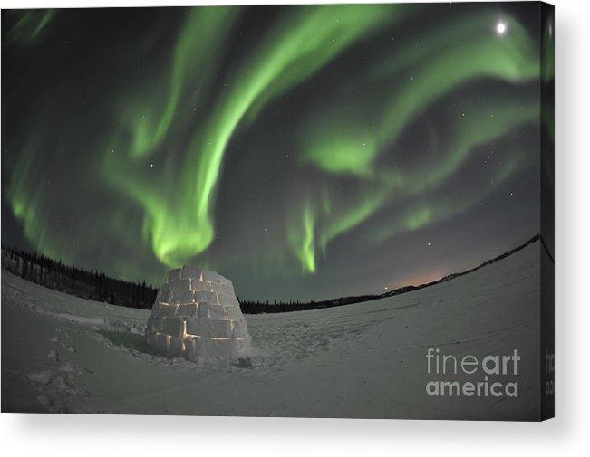 Yellowknife Acrylic Print featuring the photograph Aurora Borealis Over An Igloo On Walsh by Jiri Hermann