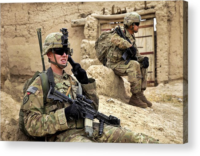 Afghanistan National Police Acrylic Print featuring the photograph A Soldier Calls In Description by Stocktrek Images