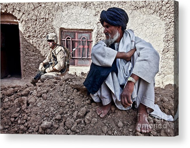 Middle East Acrylic Print featuring the photograph A Soldier Collects Information by Stocktrek Images