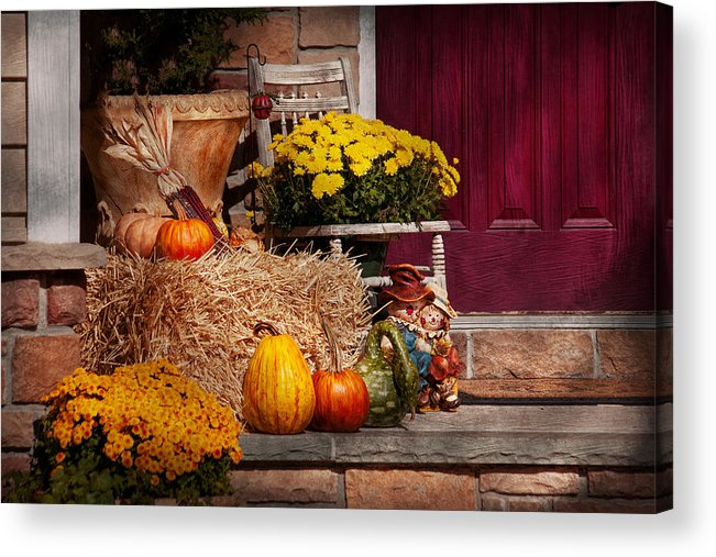 Pumpkins Acrylic Print featuring the photograph Autumn - Gourd - Autumn Preparations by Mike Savad