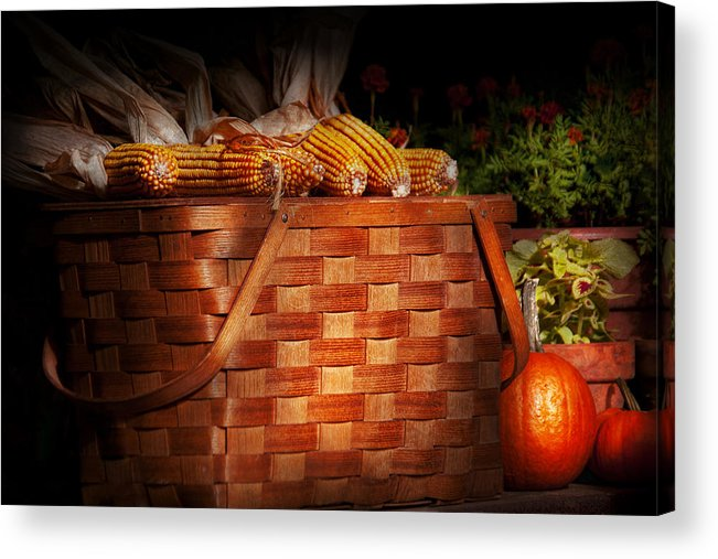 Picnic Acrylic Print featuring the photograph Autumn - Gourd - Fresh Corn by Mike Savad