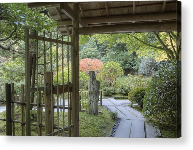 Mood Acrylic Print featuring the photograph Bamboo Gate And Traditional Arch by Douglas Orton