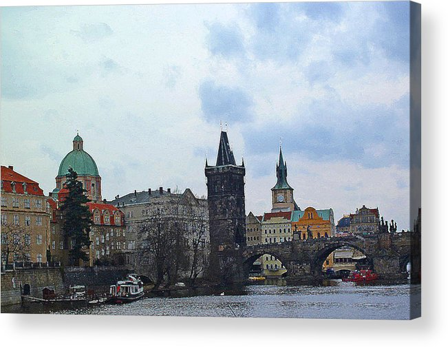 Prague Digital Art Acrylic Print featuring the digital art Charles Street Bridge And Old Town Prague by Paul Pobiak