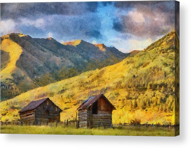 Colorado Acrylic Print featuring the painting Distant Storm by Jeff Kolker