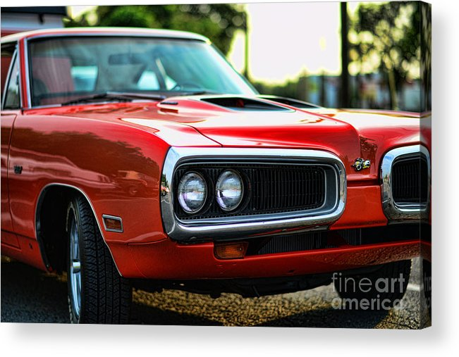 1970 Dodge Super Bee Acrylic Print featuring the photograph Dodge Super Bee Classic Red by Paul Ward