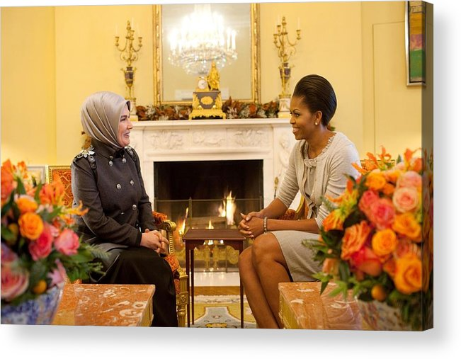 History Acrylic Print featuring the photograph First Lady Michelle Obama Meets by Everett