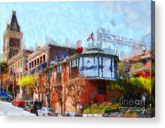 San Francisco Acrylic Print featuring the photograph Ghirardelli Chocolate Factory San Francisco California . Painterly . 7d14093 by Wingsdomain Art and Photography