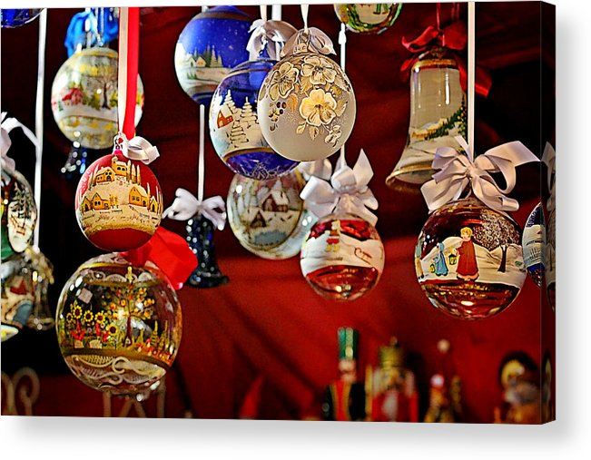 Holidays Acrylic Print featuring the photograph Handcrafted Mouth Blown Christmas Glass Balls by Christine Till