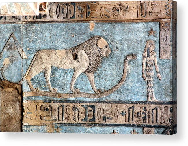 Horizontal Acrylic Print featuring the photograph Lion At Dendera, Egypt by Joe & Clair Carnegie / Libyan Soup