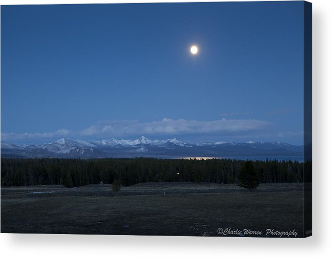Moonrise Acrylic Print featuring the photograph Moonrise At Fishing Bridge by Charles Warren