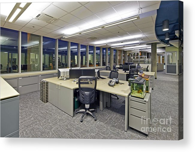 Architectural Design Acrylic Print featuring the photograph Office Work Stations by Francis Zera