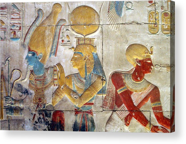 Horizontal Acrylic Print featuring the photograph Osiris And Isis, Abydos by Joe & Clair Carnegie / Libyan Soup