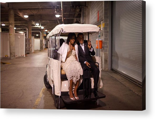 History Acrylic Print featuring the photograph President And Michelle Obama Ride by Everett
