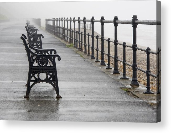 Bench Acrylic Print featuring the photograph Redcar, North Yorkshire, England Row Of by John Short
