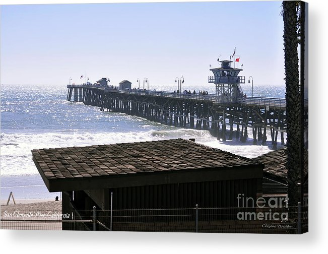 Clay Acrylic Print featuring the photograph San Clemente Pier California by Clayton Bruster