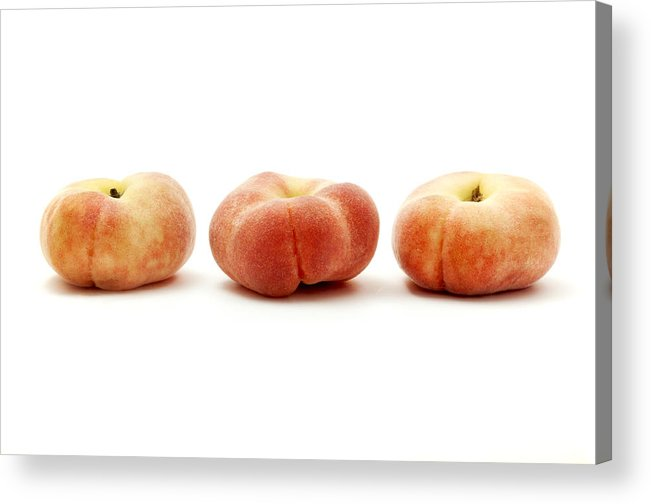 White Background Acrylic Print featuring the photograph Saturn Peaches by Fabrizio Troiani