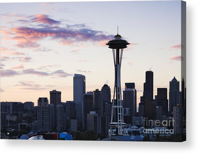 Apartment Acrylic Print featuring the photograph Seattle Skyline At Dusk by Jeremy Woodhouse