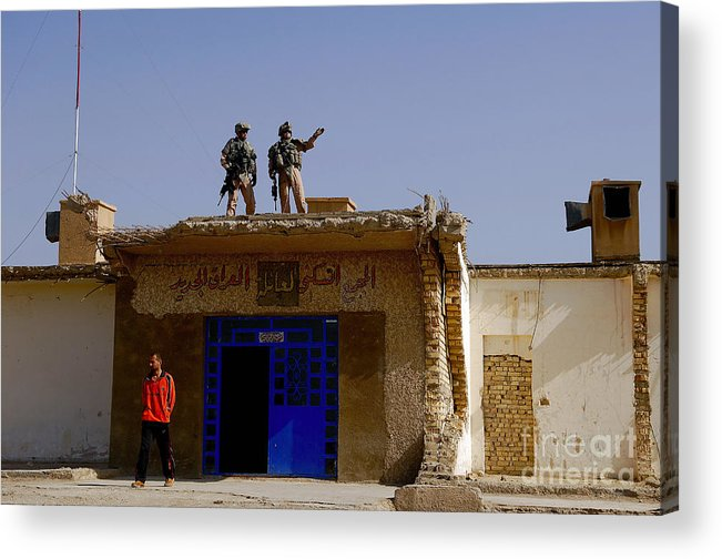 Atop Acrylic Print featuring the photograph Soldiers Discuss The New Iraqi Police by Stocktrek Images