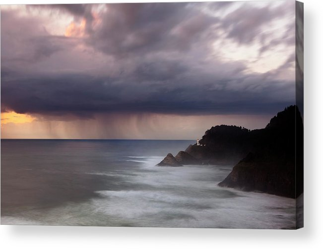 Light House Acrylic Print featuring the photograph Storm Over Heceta Head by Keith Kapple