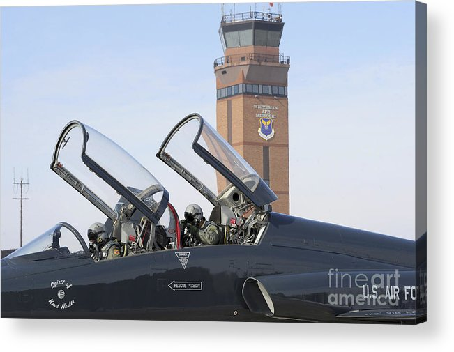 Us Air Force Acrylic Print featuring the photograph T-38 Talon Pilots Make Their Final by Stocktrek Images