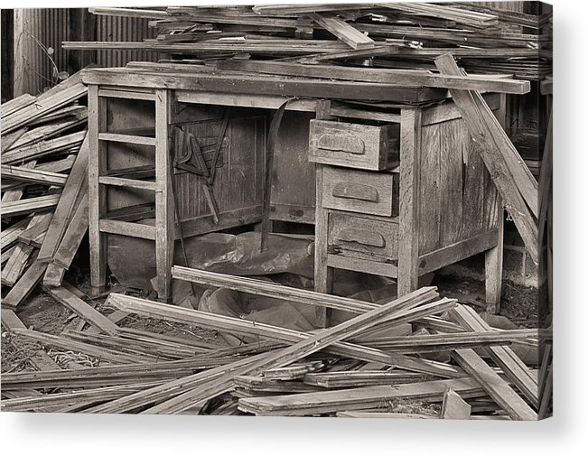 A Cluttered Desk Acrylic Print featuring the photograph The Cluttered Desk by JC Findley