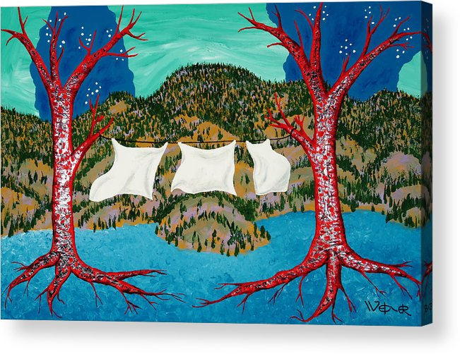 Trees Acrylic Print featuring the painting Three Sheets To The Wind by Randall Weidner
